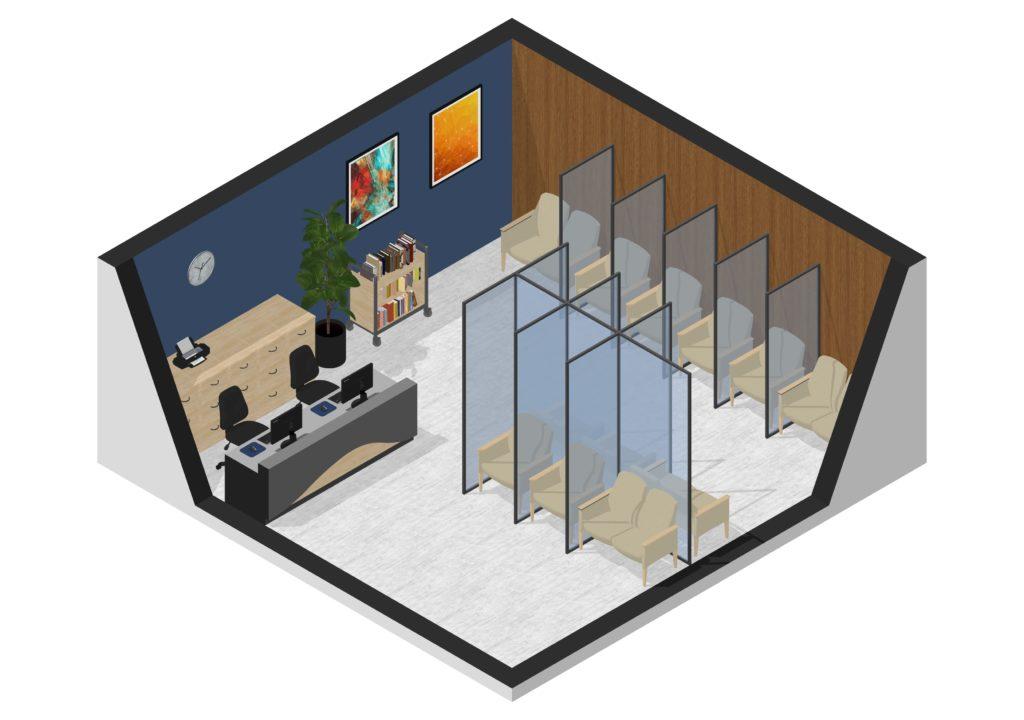 Social distancing in reception area